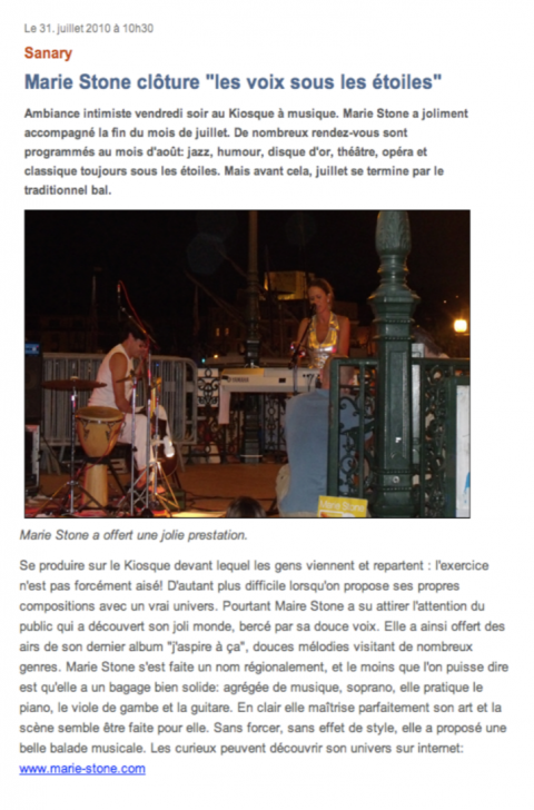 Article sur le concert à Sanary - 2010